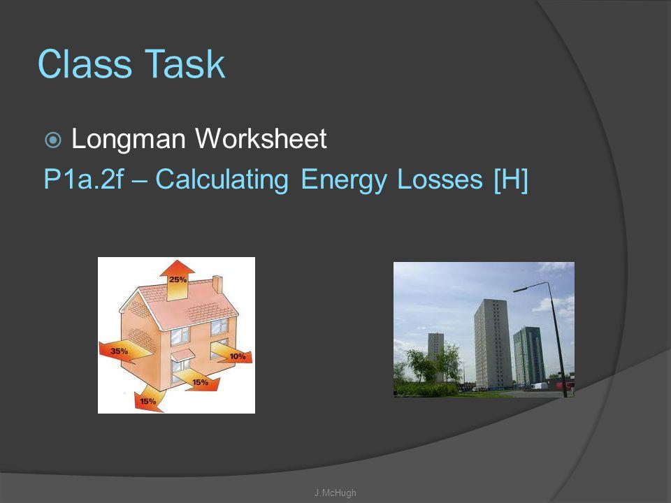 Class Task Longman Worksheet P1a.2f – Calculating Energy Losses [H]
